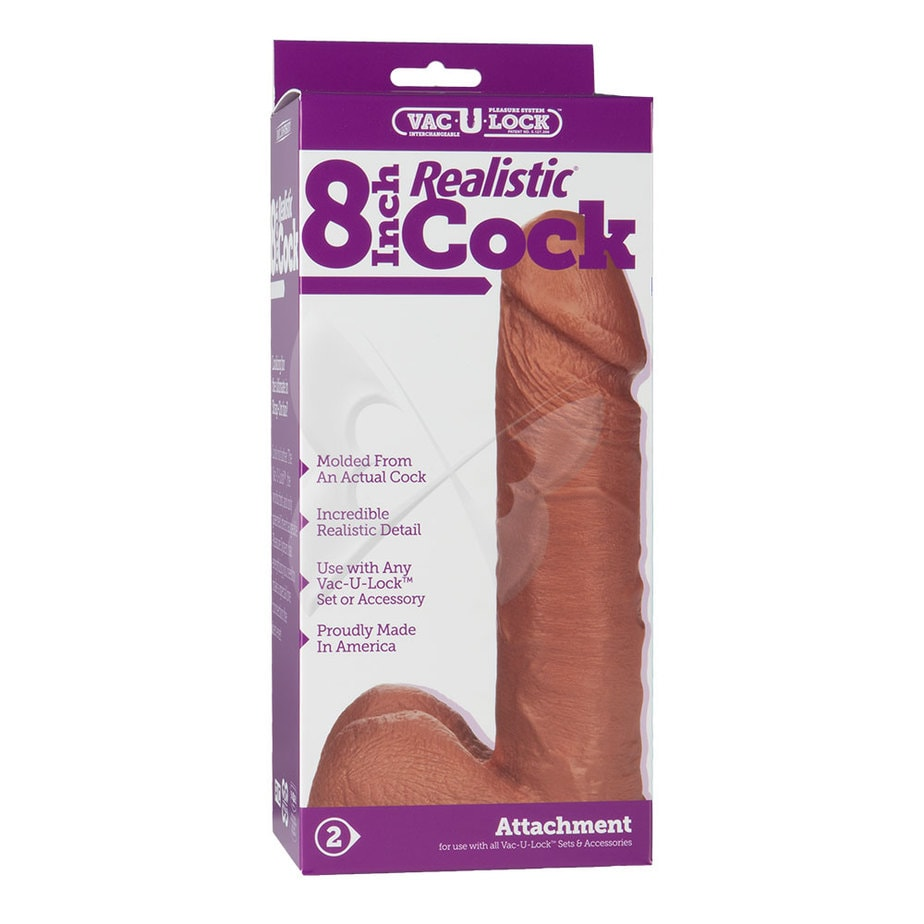 Vac U Lock 8 Inch Realistic Cock (Brown) Box