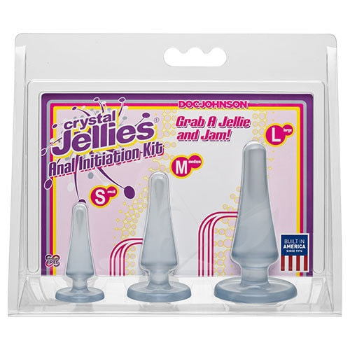 Crystal Jellies Anal Initiation Kit (Clear) Set Of 3 Butt Plugs Packaging
