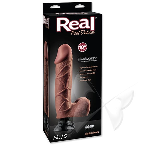 Real Feel Deluxe 10 Inch Brown Realistic Vibrator Box