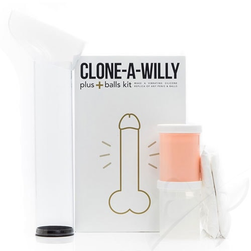 Clone A Willy Plus Balls Kit Realistic Vibrator Penis Casting Kit (Light Skin Tone)