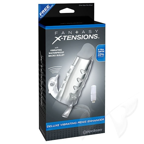 Fantasy X-tensions Deluxe Vibrating Penis Enhancer Clear Penis Sleeve Box