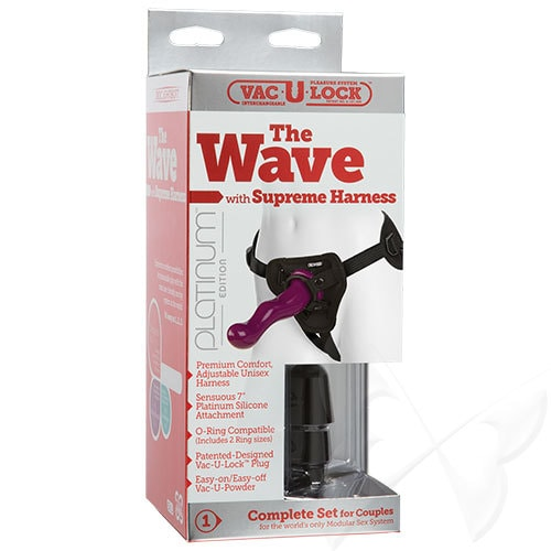 Vac U Lock Platinum Edition The Wave With Supreme Harness Strap On Set (Purple) Box