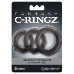 Fantasy C-Ringz Silicone Designer Stamina Set Black Cock Ring Set Packaging
