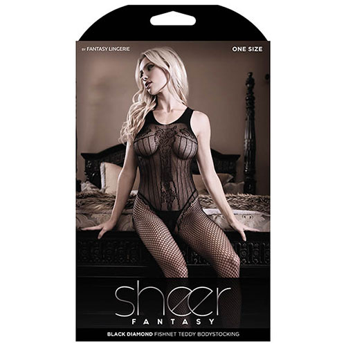 Sheer Fantasy | Black Diamond Fishnet Teddy Bodystocking