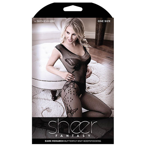 Sheer Fantasy | Dark Monarch Butterfly Knit Bodystocking