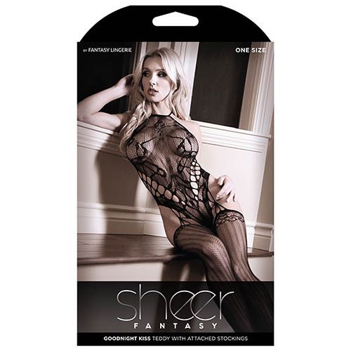Sheer Fantasy | Goodnight Kiss Teddy with Attached Stockings